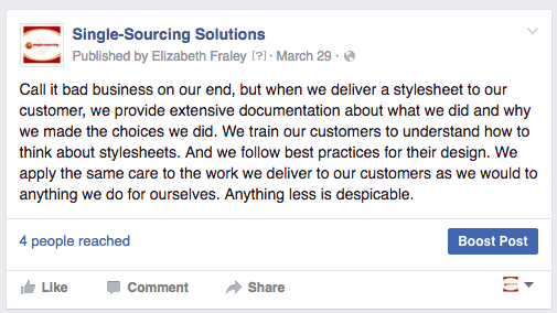 Facebook post: we train customers and deliver quality work
